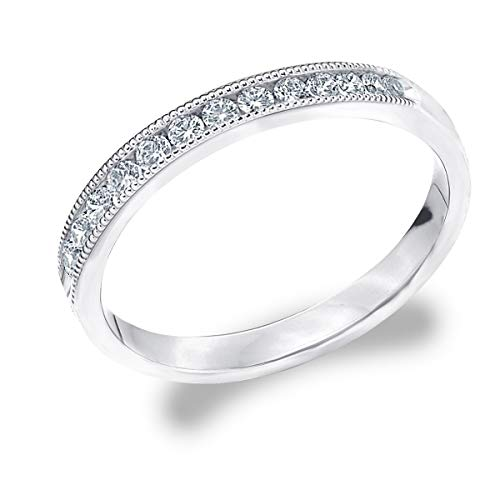 1/4 CT Milgrain Channel-Set Lab Grown Diamond Ring in 10K White Gold, Sparkling in E-F Color and VS Clarity- Finger Size 4