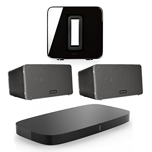 Sonos 5.1 PLAYBASE Home Theater System with PLAY:3 Speakers and SUB Wireless Subwoofer (Black)