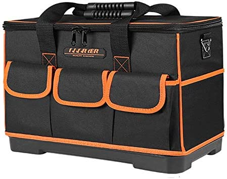 耐久性工具バッグ 太いベースショルダーストラップホームDIY&設備ストレージを持つ多機能防水広口ツールバッグ 工具収納&仕分け管理&運搬用 (色 : Orange, Size : 14inch)