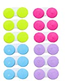 KISEER 12 Pack Colourful Contact Lens Case Box Holder Container Soak Storage Kit
