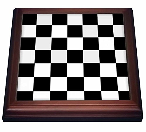 3dRose trv_44676_1 Checkered Black and White Squares-Art-Trivet with Ceramic Tile, 8