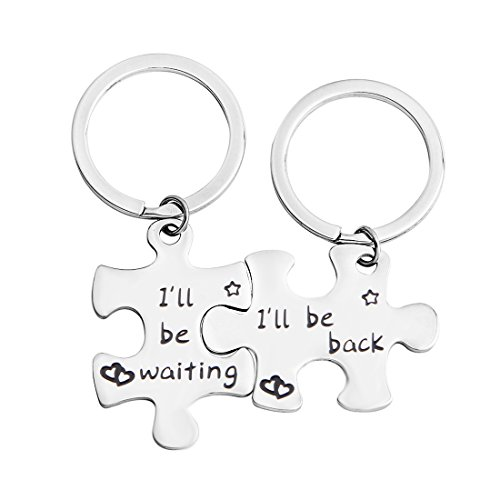MAOFAED Puzzle Keychain Couples Puzzle Piece Keychain Military gifts Valentines Day Gifts For Him (I'll be waiting Set)