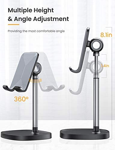 Cell Phone Stand,Angle Height Adjustable LISEN Cell Phone Stand For Desk,Thick Case Friendly Phone Holder Stand For Desk, Compatible with All Mobile Phones,iPhone,Pixel,iPad,Tablet(4-10in) 41py87ERDhL