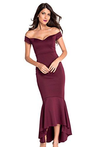 Élégant Mesdames Long Bourgogne Off épaule Soirée Cocktail robe de soirée danse Club Wear Taille L UK 12EU 40