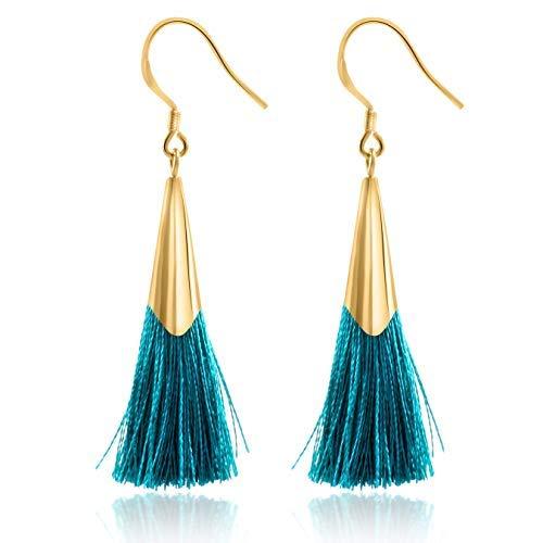 Tassel Earrings Dangle Drop 925 Silver French Hook Jewelry for Women's (Turquoise Blue) ()