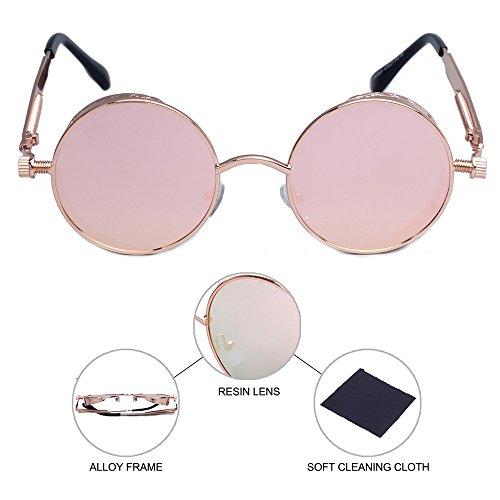 estilo retro el los de sol Gafas gafas de hombres inspirado marco para de de sol ronda punk círculo de vapor de lente metal caso de de cubierta lateral la Rosado sol gafas gafas de con con n6PPxwXqp