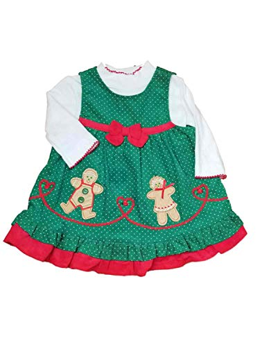 Rare Too! Infant Baby Girls Green Jumper Gingerbread Christmas Holiday Party Dress 2T