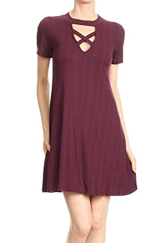 Ribbed A-Line Crossed Keyhole Dress (Plum, Small) Keyhole Dress Plum