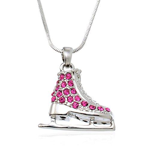 PammyJ Skater Necklace - Silvertone Pink Crystal Ice Skate Pendant Necklace, 17