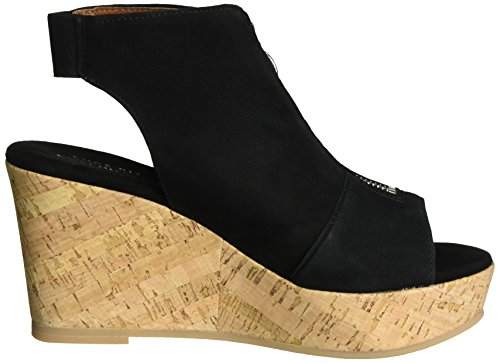 Shoe Biz Sandal Wedge, Sandalias con Cuña para Mujer Negro (Suede Black)