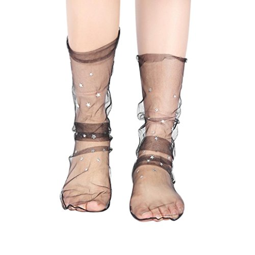 Orangeskycn Women Mesh Socks Fashion Glitter Star Soft Transparent Elastic Sheer Ankle Sock (Black)