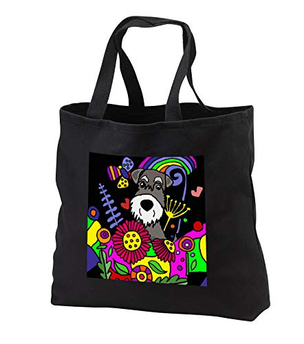 - All Smiles Art - Pets - Cool Funny Cute Weimaraner Puppy Dog in Flower Garden Abstract Art - Tote Bags - Black Tote Bag JUMBO 20w x 15h x 5d (tb_299881_3)