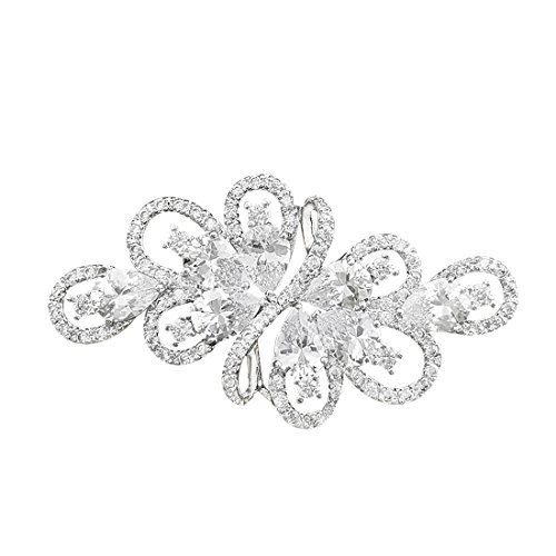 YOQUCOL White Stone Cubic Zirconia Crystal Rhinestone Ribbon Shape Silver Tone Brooch Pin for Women