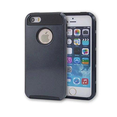 iPhone 5 Coque,iPhone 5S Coque,iPhone SE Coque,Lantier Colorful série de mode 2 en 1 double couche hybride Couverture rigide antichoc pour Apple iPhone 5 5S SE Noir