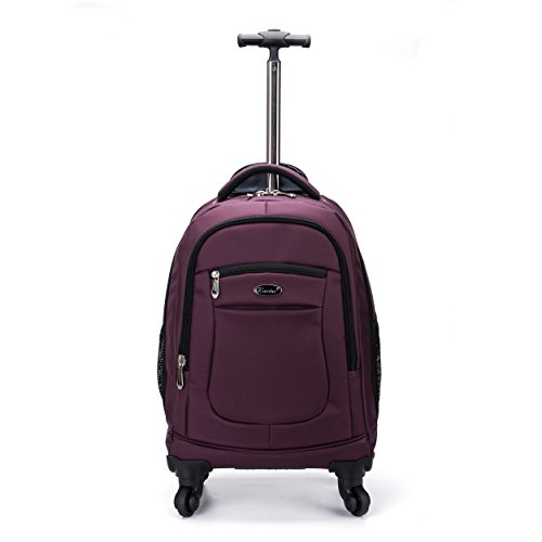 - Racini Nylon Waterproof Rolling Backpack, Freewheel Travel Wheeled Backpack, Carry-on Luggage with Anti-Theft Zippers(Purple)
