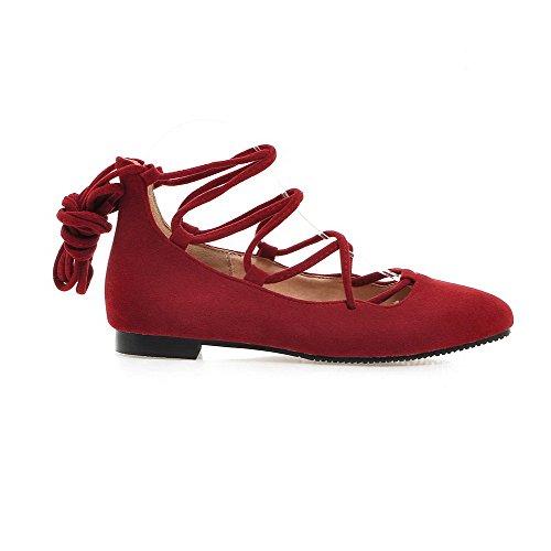 VogueZone009 Damen Rund Zehe Niedriger Absatz Mattglasbirne Rein Schnüren Pumps Schuhe Rot
