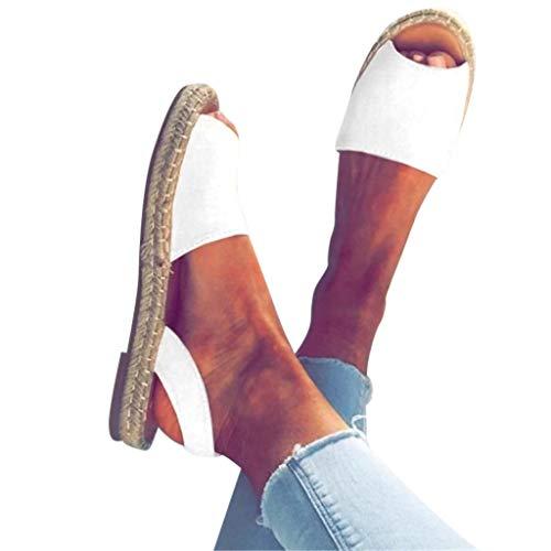 (TANGSen Summer Retro Women's Flat Ankle Strap Roman Slippers Sandals Ladies Fashion Casual Beach Shoes White)