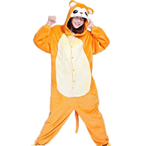 Newsuy Kigurumi Winter Unisex Adult Long Sleeve Hooded Animal Onesie For Women Anime Black Elves Pajamas Sleepwear Home Pijama Onsie Monkey M