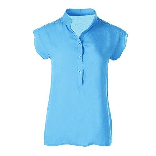 Manche T Bleu en Casual Cotton Et Couleur Youthny Shirt Courte Unie Femme aHqOHX
