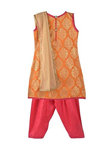 (K&U Girl's Onion Pink & Orange Salwar Kurta Dupatta Set)