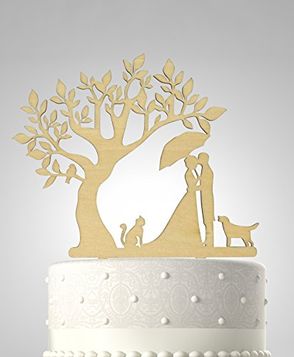 rubies-ribbons-wedding-cake-topper-couple-with-cat-and-dog-under-tree-party-decoration-with-gift-box