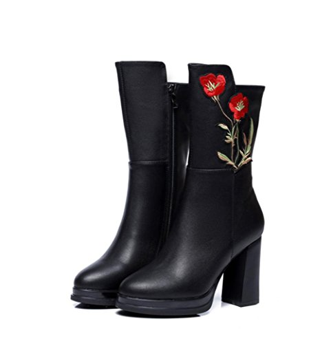 Best 4U® Scarpe da donna in pelle scamosciata Stivali da autunnale in vera pelle Stivali tacco alto in punta di martin