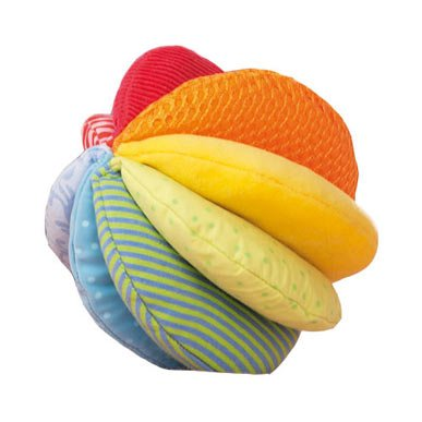 HABA Rainbow Fabric Ball - Machine Washable with 8 Different Sensory Affects (Baby Ball Soft)