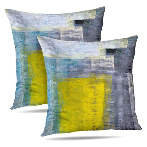 Alricc Set of 2 Teal Grey and Yellow Art Modern Contemporary Office Wall Decorative Throw Pillows Cushion Cover for Bedroom Sofa Living Room 18X18 Inches (Yellow Vase Blue)