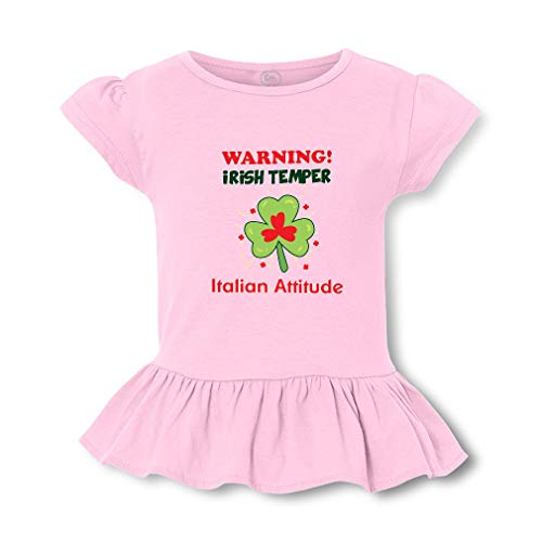 (Warning Irish Temper - Italian Attitude Short Sleeve Toddler Cotton Girly T-Shirt Tee - Soft Pink, 4T)