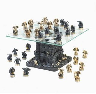 SKB Family Black Tower Dragon Chess Set kingdom bloodless glass battles