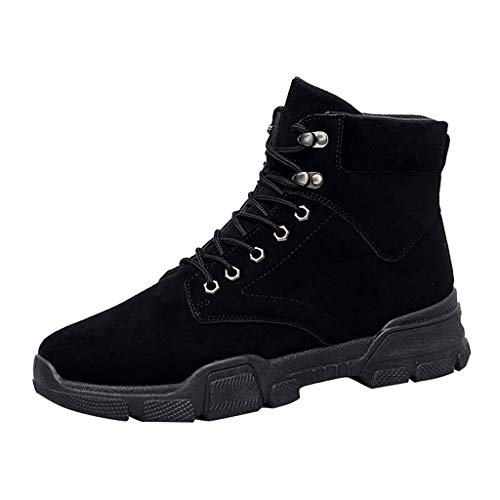 Work Boots for Men,Classic High-Top Safety Military Hiking Trend Wild Chelsea Shoes (US:9, Black)