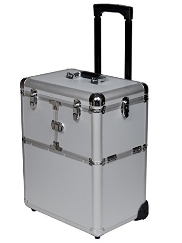 19'' Makeup Aluminum Rolling Cosmetic Train Case Artist Salon Lockable Box Silver + FREE E-Book