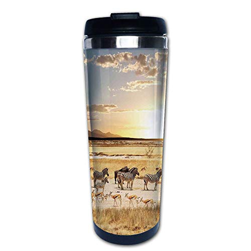 Stainless Steel Insulated Coffee Travel Mug,Coats in Savannahs Sunset Adventure Africa Wild,Spill Proof Flip Lid Insulated Coffee cup Keeps Hot or Cold 13.6oz(400 ml) Customizable printing
