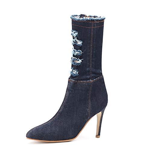 Dark bluee 6 US Dark bluee 6 US Women's Fashion Boots Denim Fall & Winter Boots Stiletto Heel Pointed Toe Mid-Calf Boots Dark bluee Light bluee Party & Evening