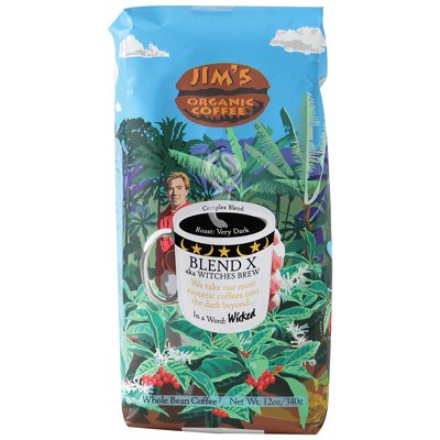 Jim's Organic Coffee Blend X aka Witches Brew, 11 Ounce (Pack of 6)