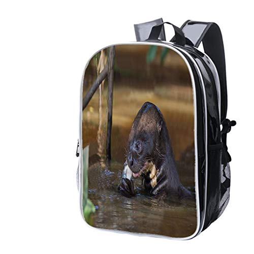 (High-end Custom Laptop Backpack-Leisure Travel Backpack Giant Otter Eating Fish Water Resistant-Anti Theft - Durable -Ultralight- Classic-School-Black)