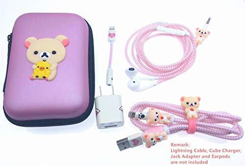 Tospania DIY Kit for iPhone XS/X/8P/8/7/Plus and Backwards-Compatible IPad iPod iWatch Charging Cable/Earphones and USB Charger (Beige Bear)