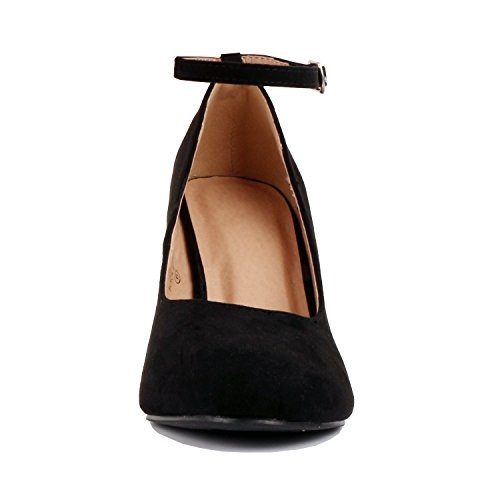 Round Stiletto Pumps Guilty Ankle Suede Black Comfortable Dressy Womens Heart 13 Closed Toe Walking Strap vv0THwxq
