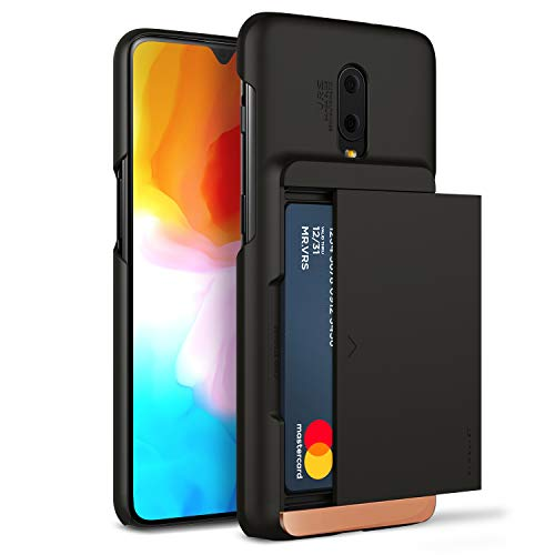 OnePlus 6T Case, VRS Design [Matte Black] Semi-Automatic U.S. Patent Gliding Wallet Phone Case [Damda Glide X D.Wallet] Secure 2 Card Holder Compatible with OnePlus 6T (2018)