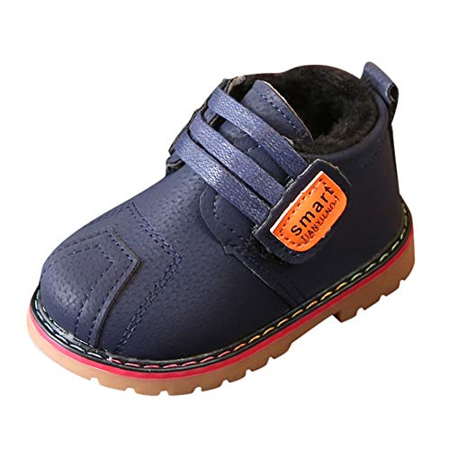 Beppter Kids Baby Autumn Martin Boots Fashion Suede Leather Lace-Up Boots Soft Flat Ankle Infant Toddler Girls Boys(Dark Blue, 18M-24Months)