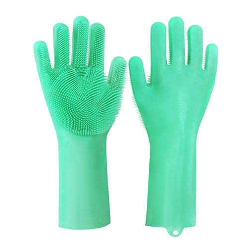 Wash Cleaning Gloves with Sponge Scrubbers, Rubber Scrubbing Gloves for Dishes, Reusable Silicone Scrubbing Gloves for Washing Kitchen, Bathroom,Car & More (Green)