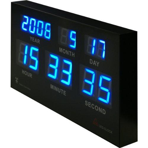電波時計 高輝度LED搭載 7セグデジタルカレンダー電波クロック (日本基準時を受信する電波時計) 壁に掛けても床に置いてもCoolなデザインインテリア! B00AHUVQ3I