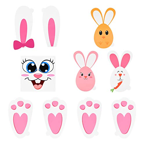 PRETYZOOM Bunny Paw Prints Stickers Egg Bunny Face Stickers for Baby Shower Garden Egg Hunt Game Activity Favors.