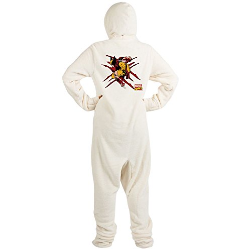 CafePress Wolverine Scratches Novelty Footed Pajamas, Funny Adult One-Piece PJ Sleepwear Creme -