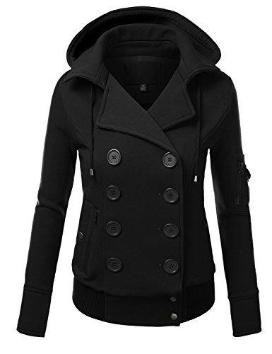 TL Womens Winter Double-breasted Warm Wool Blended Pea Coat Trenchcoat Jackets