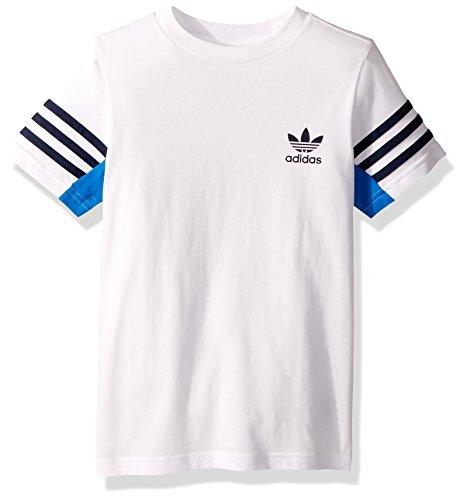 adidas Originals Boys Big Authentics Tee, White/Blue Bird/Collegiate Navy, L