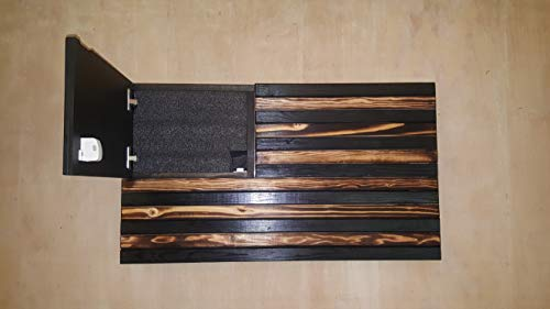 San Tan Woodworks Standard Size Burnt Wood Gun Concealment American Flag with Carved Stars. Hand-Made, 100% American Gun Concealment Furniture for The Home (Burnt)