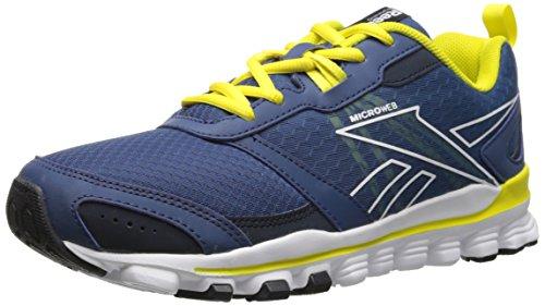 Reebok Hexaffect Running Shoe (Little Kid/Big Kid), Batik Blue/Faux Indigo/Stinger Yellow/White, 3.5 M US Big Kid