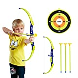 Conthfut Archery Set Kids Green Bow and Arrow Play Toy, Outdoor Hunting Game with 3 Suction Cup Arrows, Target for Boys and Girls