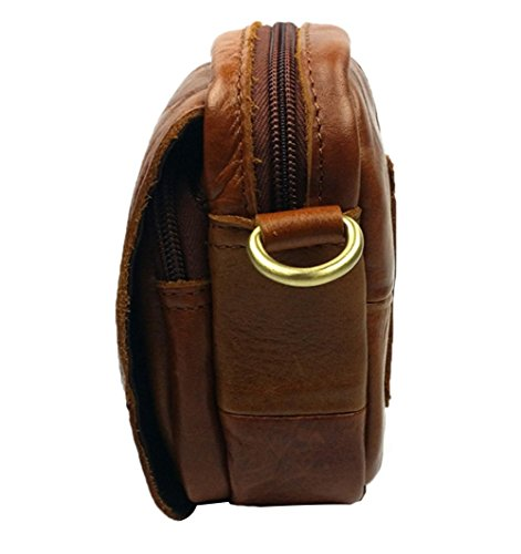 Genda 2Archer Hombres Pequeña Bolsa de Cintura de Cuero / Bolsa de Cintura, un Bolso Casual (amarillo marron) amarillo marron